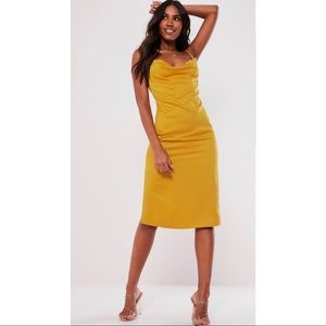 NEW misguided mustard satin dress. Size 10